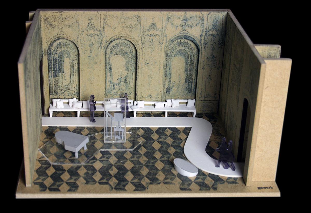 Modell Musikzimmer Friedrich der Große mit Inszenierung