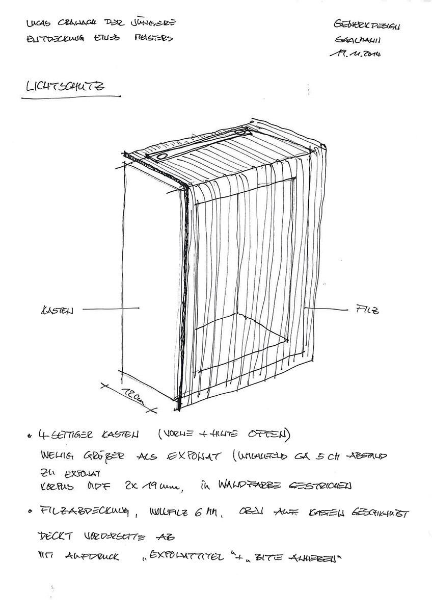 Entwurf Objektkasten mit Lichtschutz