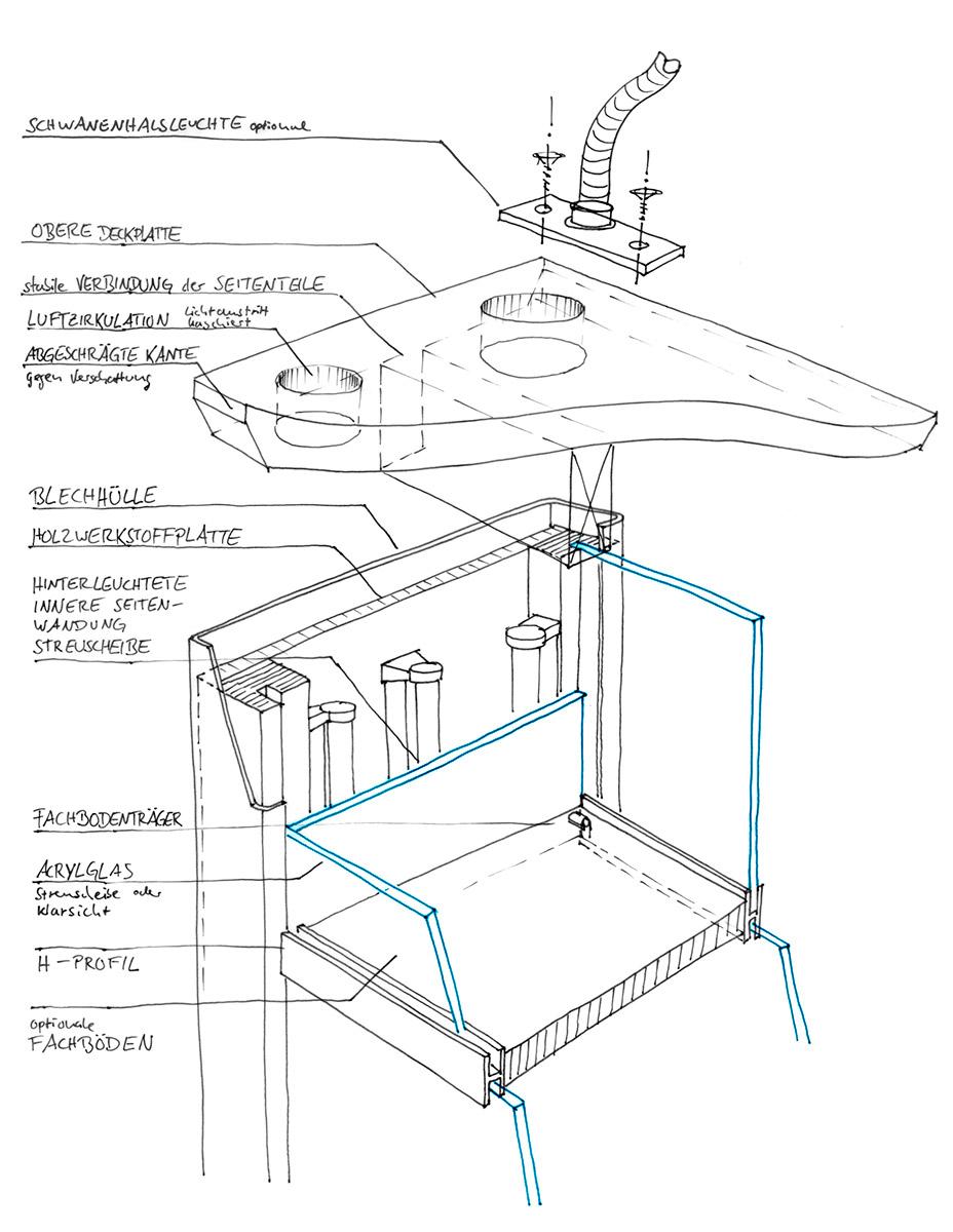Konstruktionszeichnung Medienstation