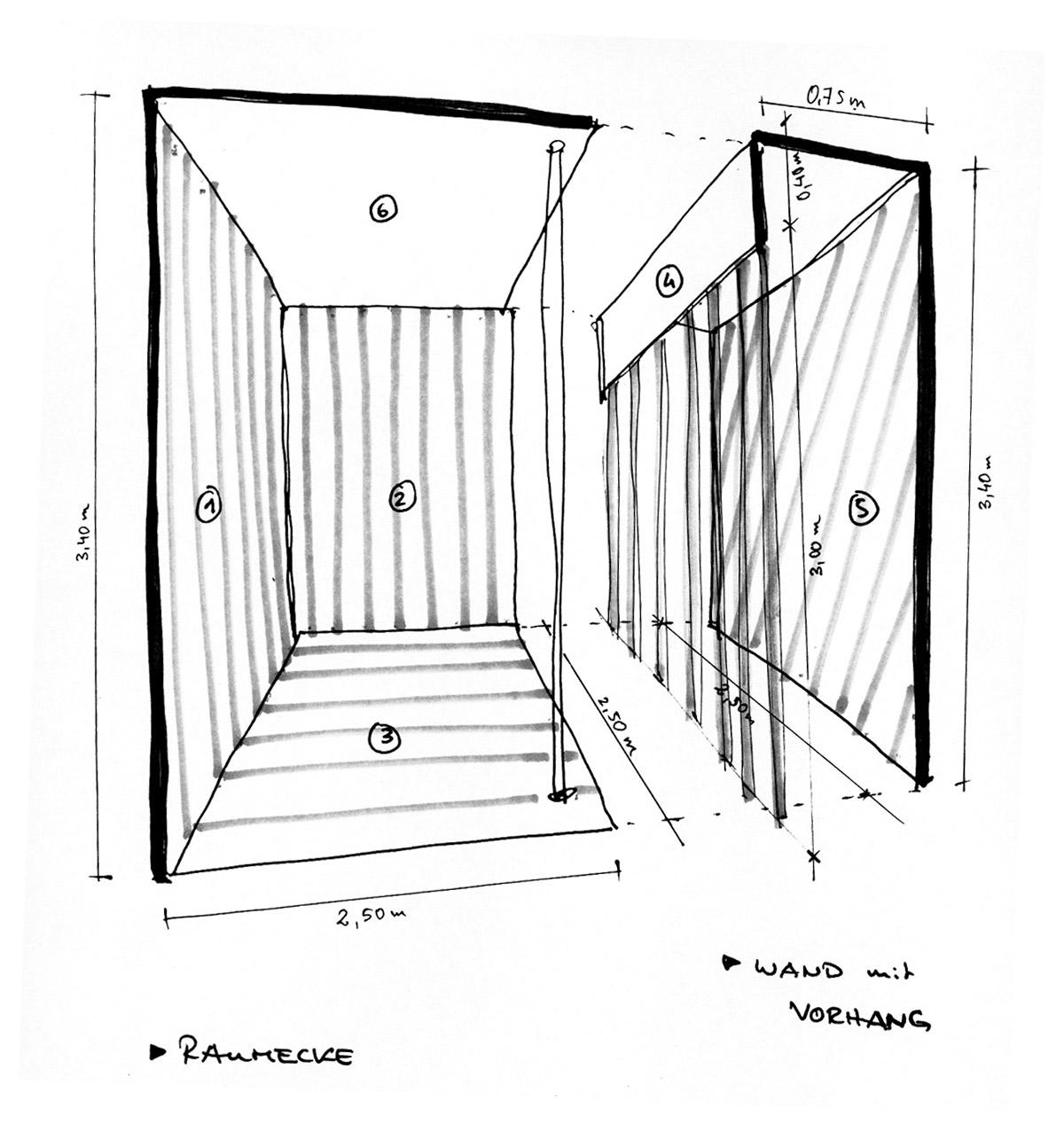 Entwurfsskizze Raumillusion