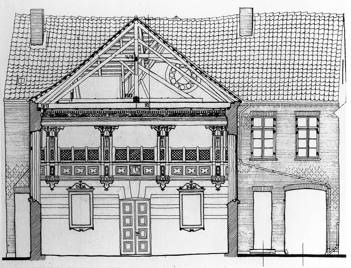 Synagoge als Bauensemble Ende des 17. Jahrhunderts von den Dänen errichtet – Bauplanzeichnung